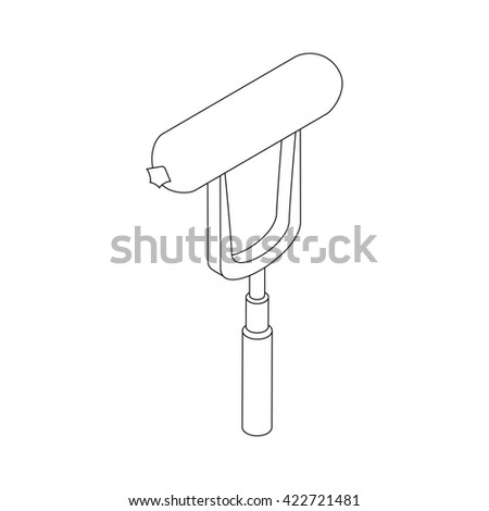 Sausage on a fork icon, isometric 3d style - stock photo