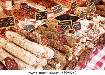 Sausage on a market stand in Aix en Provence, France - stock photo