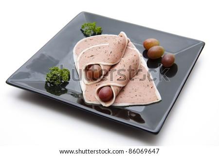 Sausage plate - stock photo