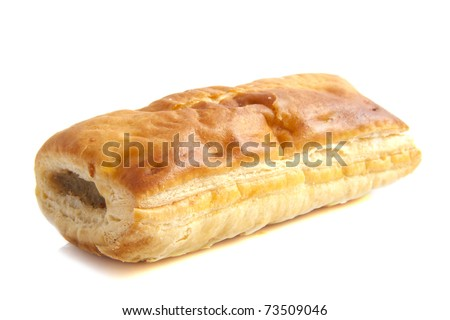 Sausage roll isolated on a white background - stock photo
