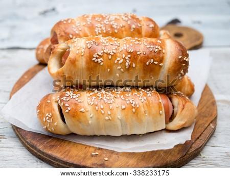 sausage rolls - stock photo