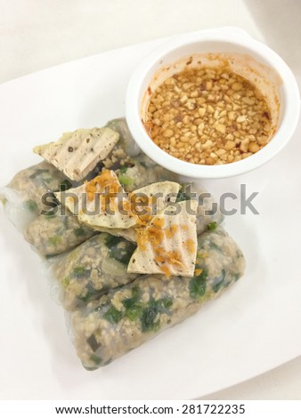 Sausage spicy and sour sauce with vegetable, asian food style. - stock photo