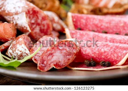 Sausage. Various Italian Ham, Salami and Bacon - stock photo