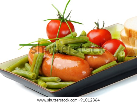 sausage with green beans isolated on white
