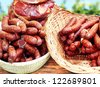 sausages and bacon - stock photo