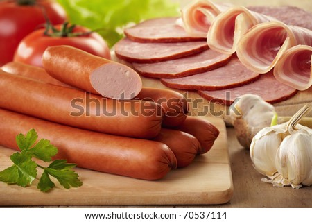 sausages and meat - stock photo