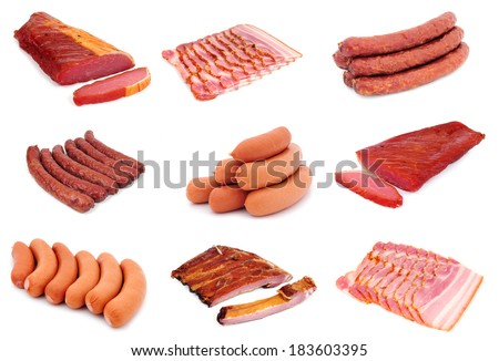 Sausages and smoked. collage - stock photo