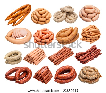 sausages collection isolated on white background - stock photo