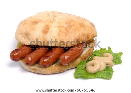 sausages in bread with mustard - stock photo