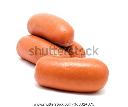 Sausages isolated on a white background - stock photo