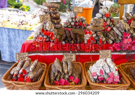 sausages, market in Nyons, Rhone-Alpes, France - stock photo