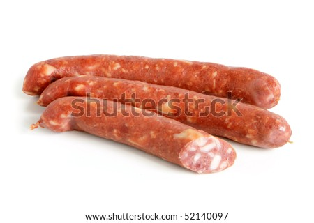 Sausages on a white background - stock photo