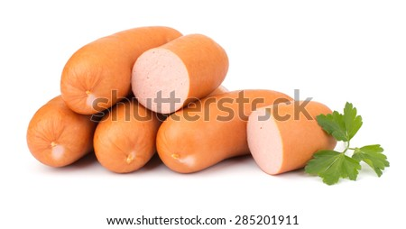 Sausages with parsley isolated on white background - stock photo