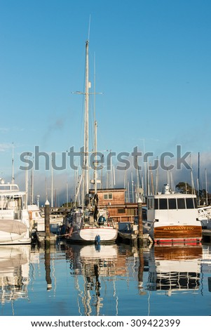Sausalito California with the fog rolling in to the harbor - stock photo