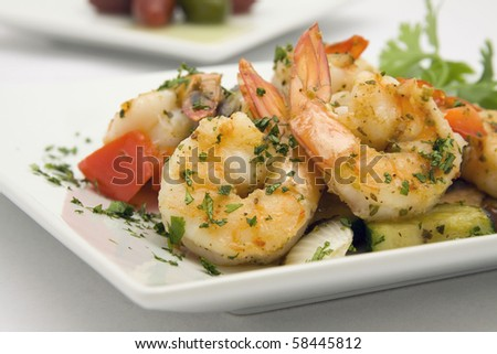 Saute Shrimps with stir fry garden vegatables - stock photo