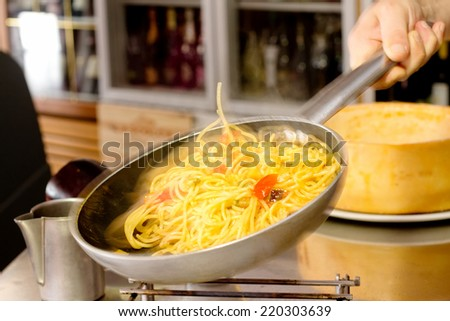 saute spaghetti with vegetables - stock photo