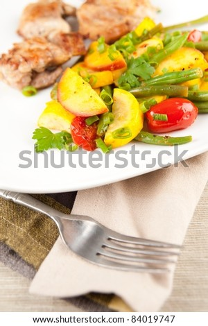 Sauteed Chicken Thights  with Various Organic Vegetables - stock photo