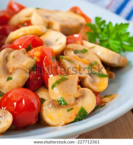 Sauteed mushrooms with tomatoes