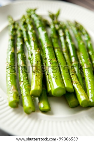 Sauteed Organic Asparagus with Herbs and Garlic - stock photo