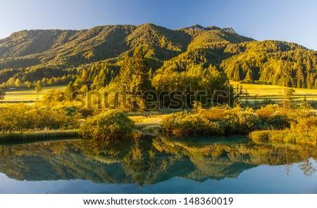 Sava spring, Zelenci, Slovenia - stock photo