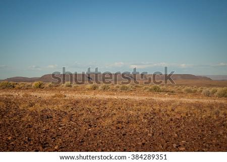 Savannah and Highlands in Namibia near Fish River Canyon - stock photo
