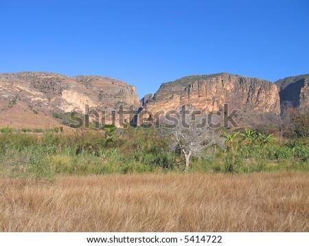 Savannah and mountains - Isalo park - Madagascar. - stock photo