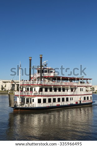 SAVANNAH, GEORGIA/USA - OCTOBER 22, 2014: Savannah riverboat, Georgia Queen on excursion. The River Street Riverboat Company was first established in 1991 under the direction of Jonathan Claughton