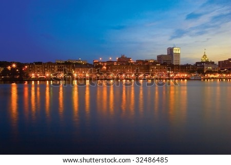 Savannah Riverfront at Dusk