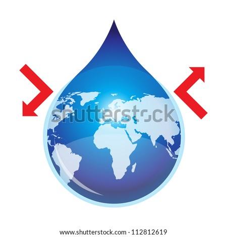 Save and Protect Water of The World Concept with red arrow - isolated on White Background - stock photo