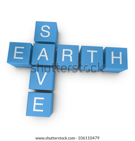 Save earth crossword on white background, 3D rendered illustration