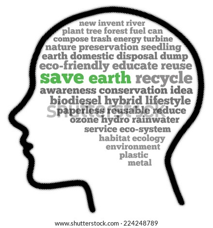 Save earth in words cloud - stock photo