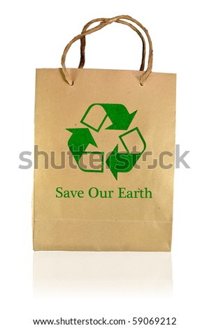 Save earth paper bag - stock photo