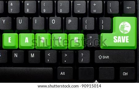 save earth words on green and black keyboard button