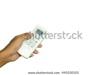 save energy,control air condition with hand,isolated on white