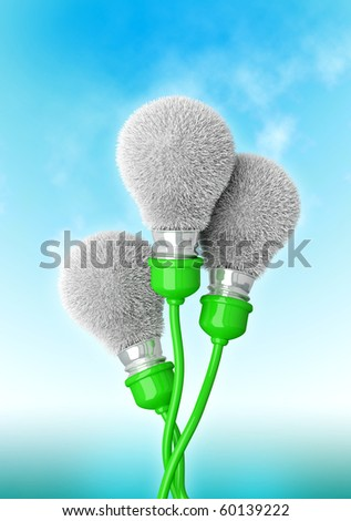 Save energy Flowers from Light bulbs. High quality 3d render. - stock photo