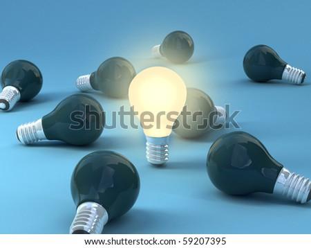 Save energy Light bulbs. High quality 3d render. - stock photo
