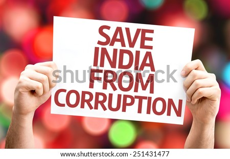 Save India From Corruption card with bokeh background