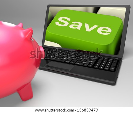 Save Key On Laptop Showing Price Reductions Or Selling Discounts