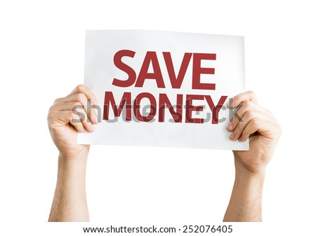 Save Money card isolated on white background - stock photo