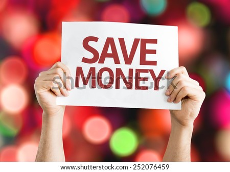 Save Money card with colorful background with defocused lights - stock photo