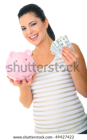 save money concept. a woman holding pink piggybank and money. isolated
