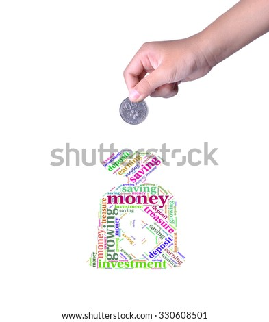 Save money concept with put money coin to bag