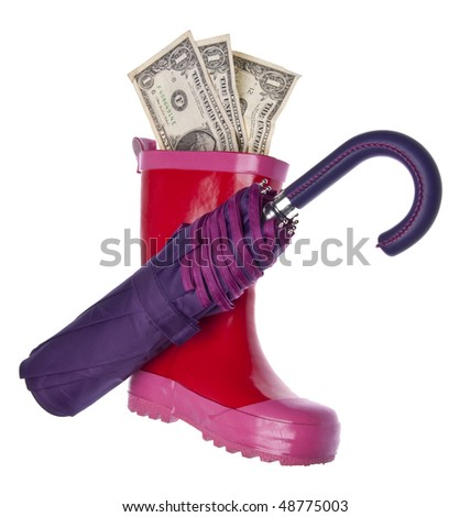 Save Money for a Rainy Day! Purple umbrella, and pink rain boot with American currency isolated on white with a clipping path.