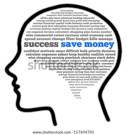 Save money in head shape words cloud - stock photo