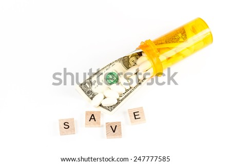 Save money on generic drugs or for save money with Flexible Spending Account FSA or health savings account HSA or a health reimbursement account HRA - stock photo