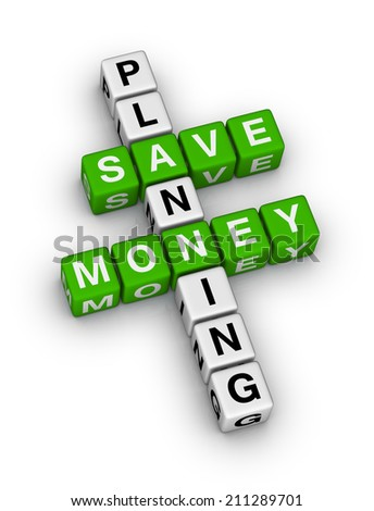 save money planning crossword puzzle - stock photo