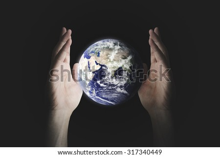 Save or Destroy the World. Environment concept. World Environment Day concept. - Elements of this image furnished by NASA.