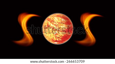 Save Our Souls , SOS , Global warming , elements furnished by NASA - stock photo