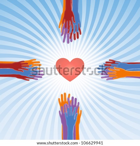 save our souls, the cross from hands and heart, raster - stock photo
