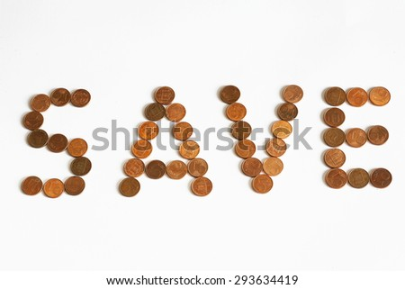 save sign made of coins